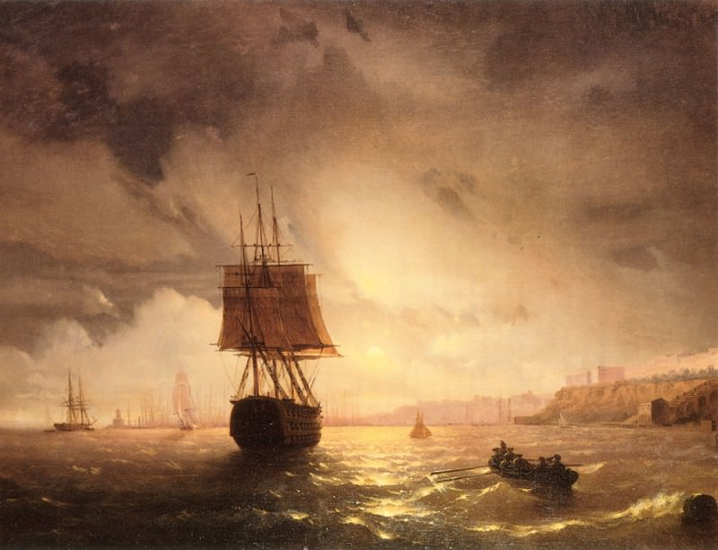 Odessa harbor. Black Sea. Ivan Konstantinovich Aivazovsky