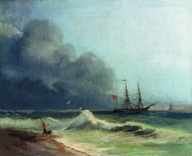 Sea before the storm 1856 36h48. Ivan Konstantinovich Aivazovsky