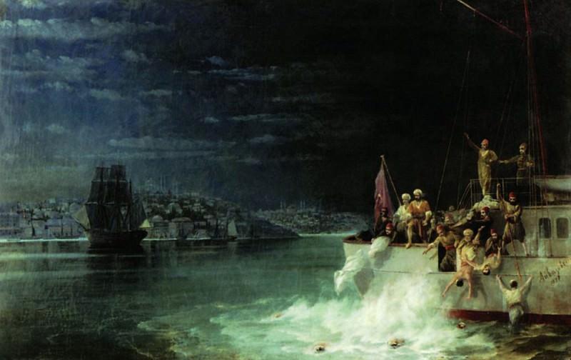 Night. Tragedy in the Sea of Marmara 1897. Ivan Konstantinovich Aivazovsky