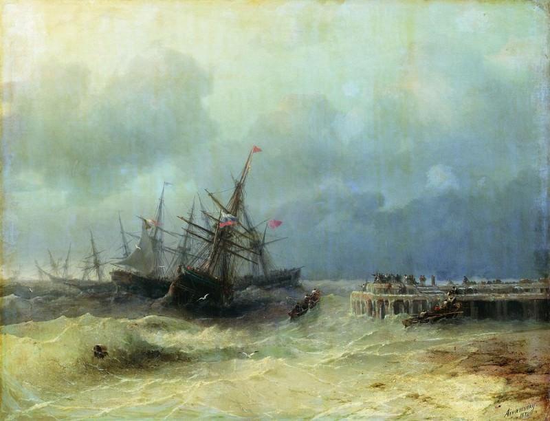 fleeing from the storm in 1872 65h80. Ivan Konstantinovich Aivazovsky