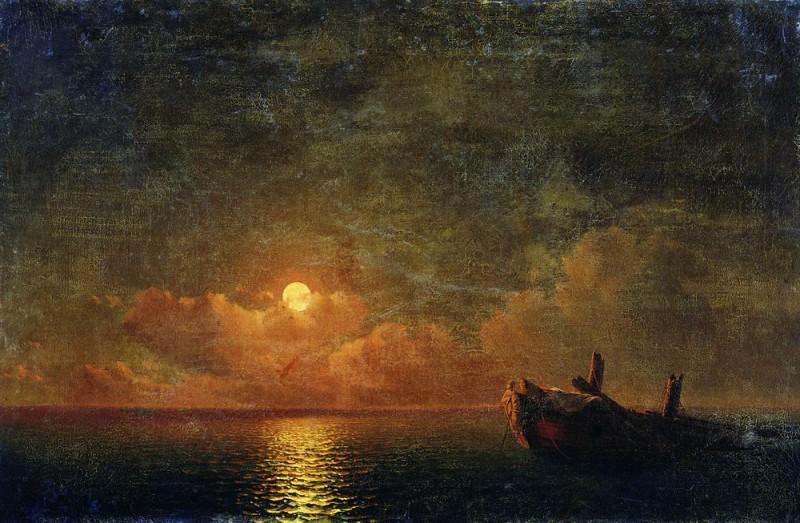 Moonlit Night. Wrecked ship in 1871 56h93. Ivan Konstantinovich Aivazovsky