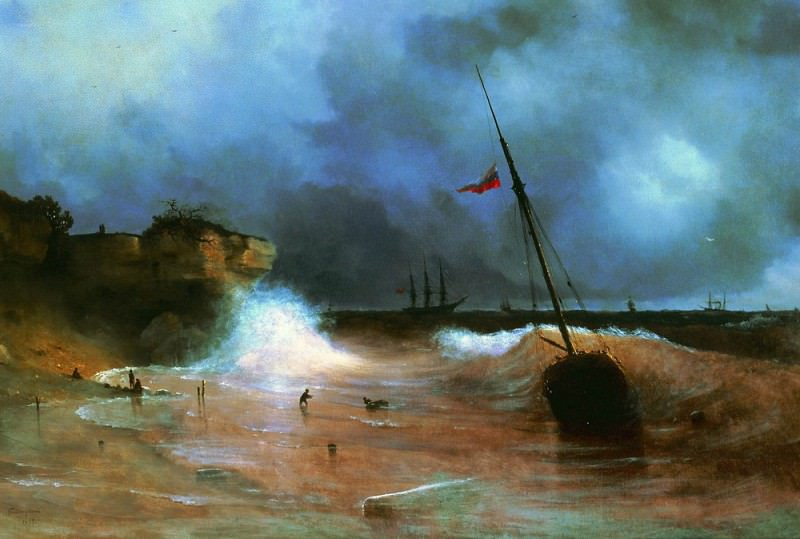 End of the storm at sea in 1893 91h135. Ivan Konstantinovich Aivazovsky