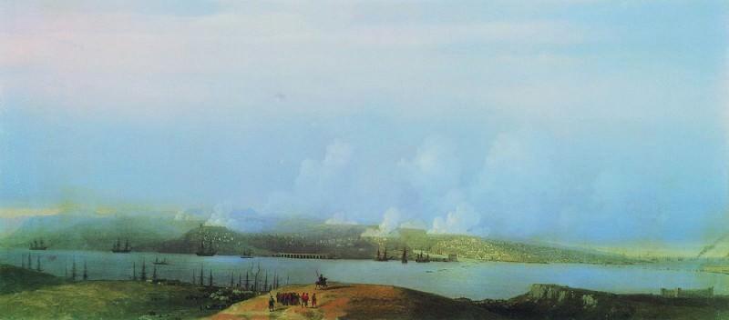 Осада Севастополя 1859 32,5х72. Иван Константинович Айвазовский