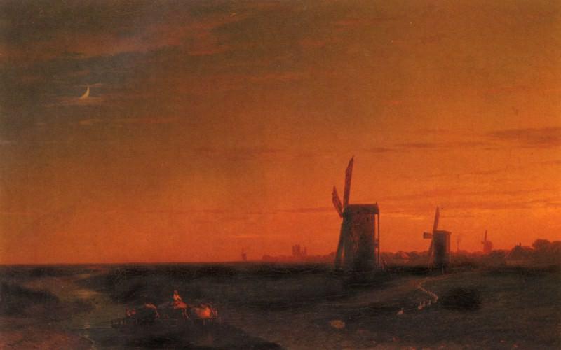 Landscape with windmills. Ivan Konstantinovich Aivazovsky