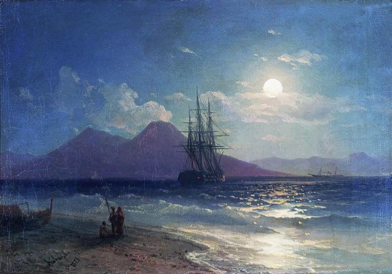 Вид моря ночью 1873 22х30. Иван Константинович Айвазовский