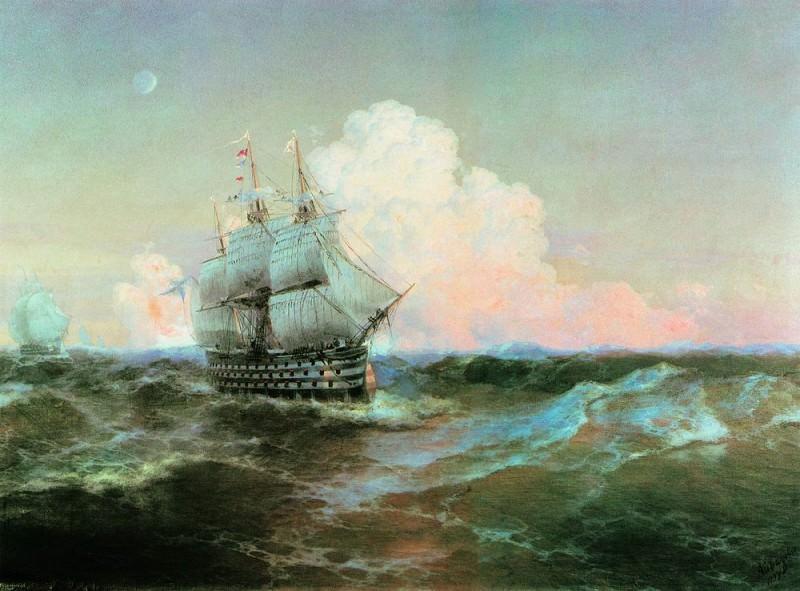 Корабль Двенадцать апостолов 1897 105х139. Иван Константинович Айвазовский