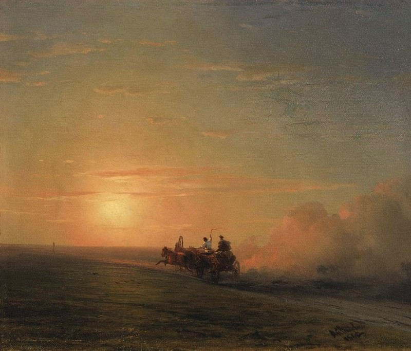 Troika in the steppe, 1882. Ivan Konstantinovich Aivazovsky