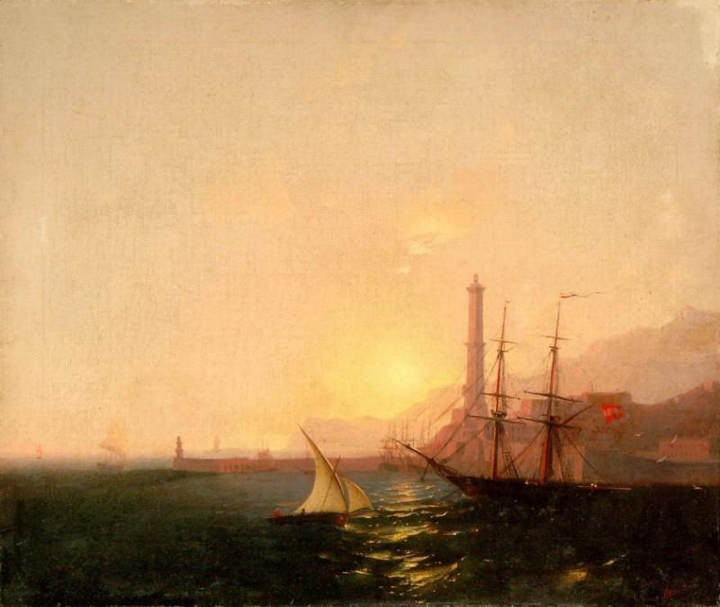 Sunrise in the harbor. Ivan Konstantinovich Aivazovsky