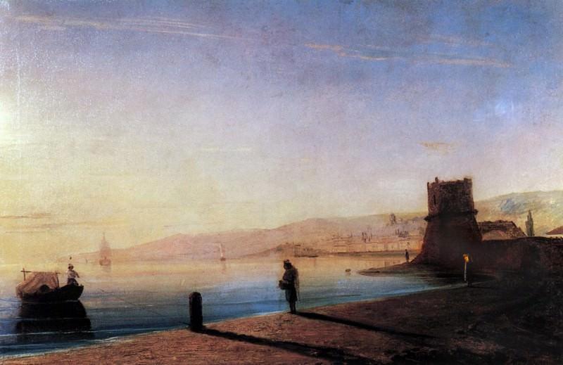 Pier in Feodosia 1856 55h85. Ivan Konstantinovich Aivazovsky