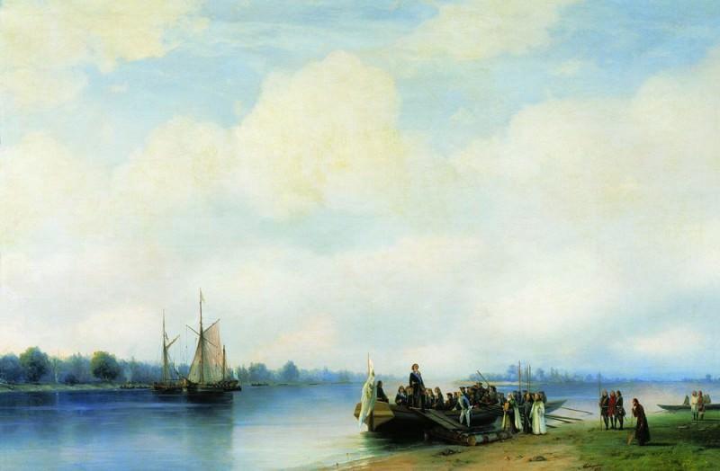 Arrival of Peter I on the Neva 1853 94h138. Ivan Konstantinovich Aivazovsky