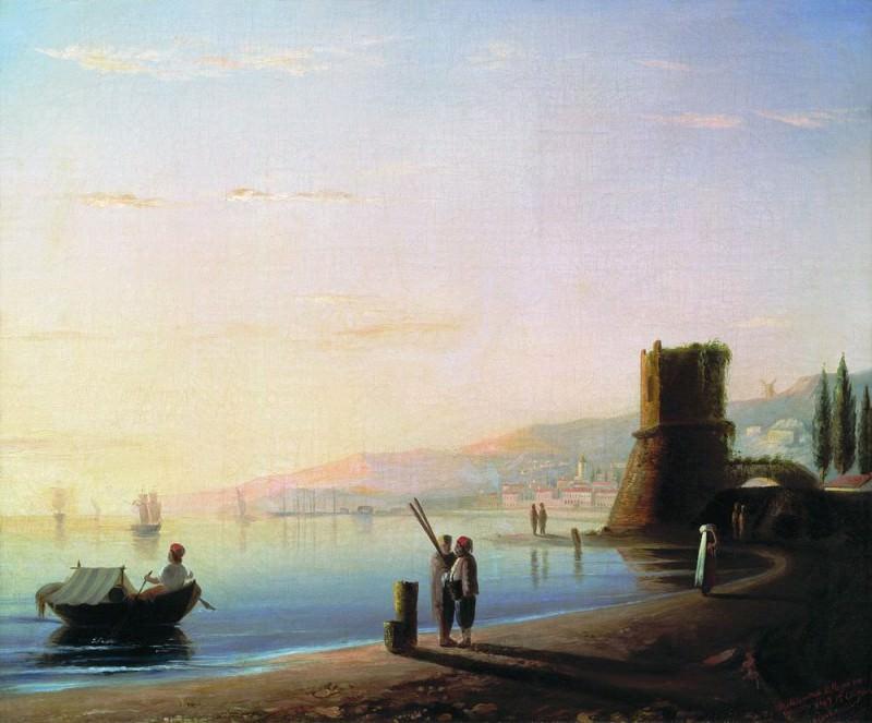Pier in Feodosia. Mid 19. 57h68, 5. Ivan Konstantinovich Aivazovsky