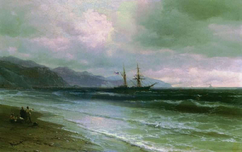 Пейзаж со шхуной 1870-1880-е 26,8х33. Иван Константинович Айвазовский