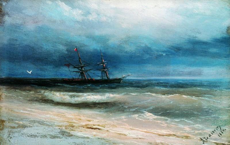 Море с кораблём 1884 12,5х16,5. Иван Константинович Айвазовский