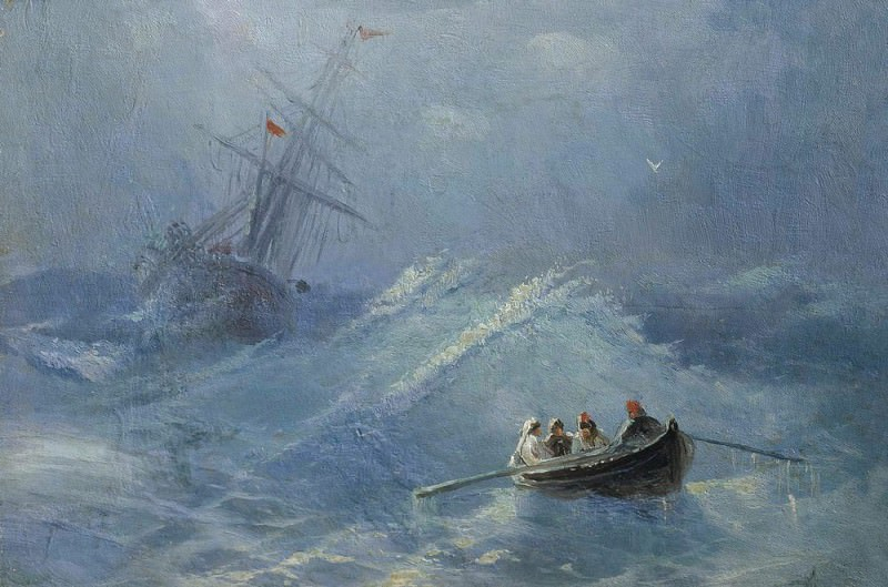 Collapse ship in a stormy sea. Ivan Konstantinovich Aivazovsky