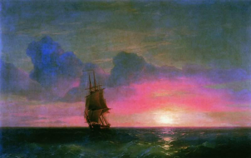 Sunset. A lone sailboat 1853 90h140. Ivan Konstantinovich Aivazovsky