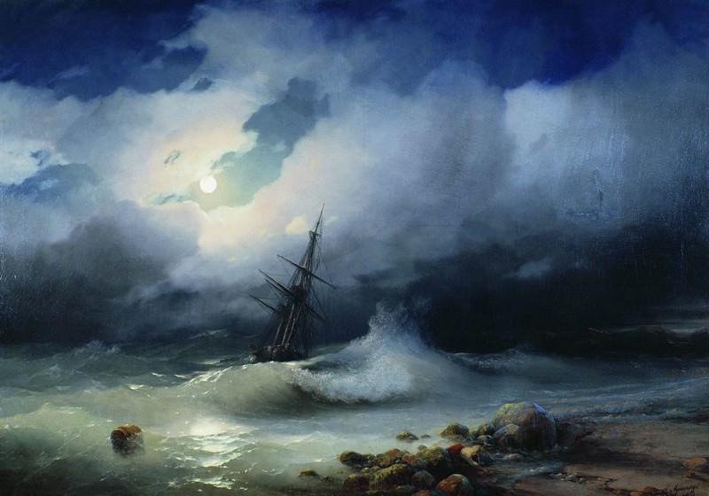 Бурное море ночью 1853 82х117. Иван Константинович Айвазовский