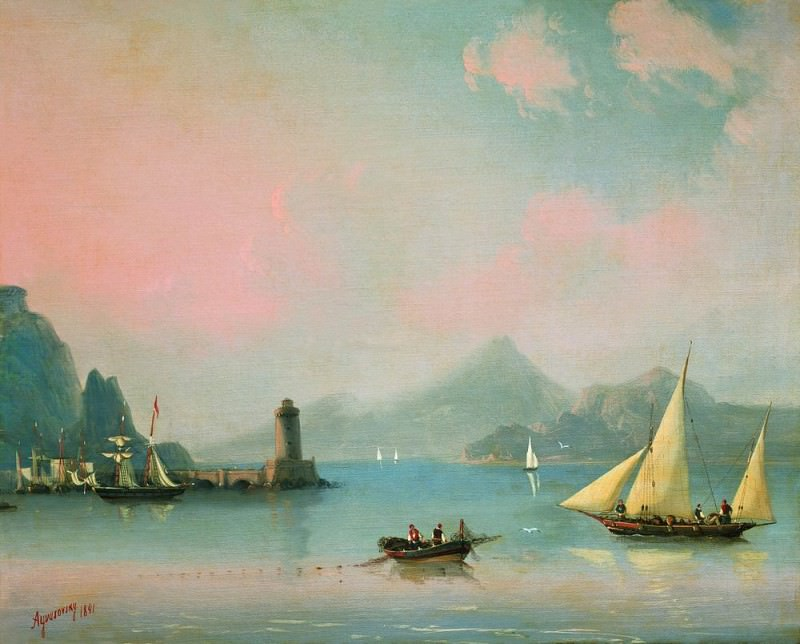 Sea Straits to the lighthouse in 1841 48,5 x60. Ivan Konstantinovich Aivazovsky