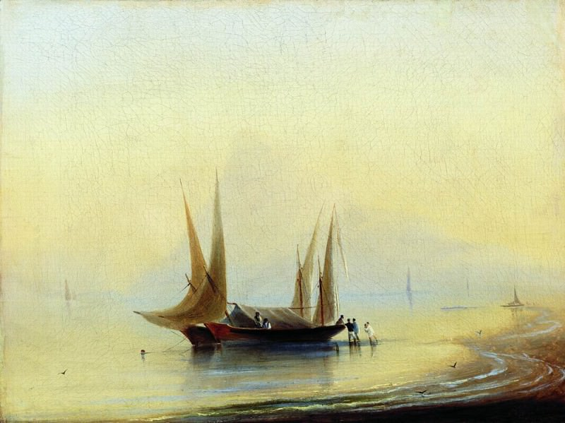 Barges the seashore 37,5 x50, 6. Ivan Konstantinovich Aivazovsky
