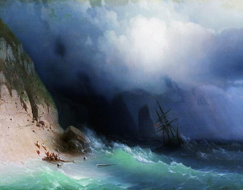 Shipwreck at rocks 1870 36h46. Ivan Konstantinovich Aivazovsky