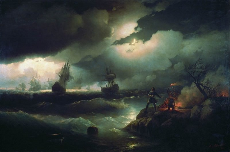 Peter I at the Red Hill. lit for a fire to signal the lost ships its 1846 223h335. Ivan Konstantinovich Aivazovsky