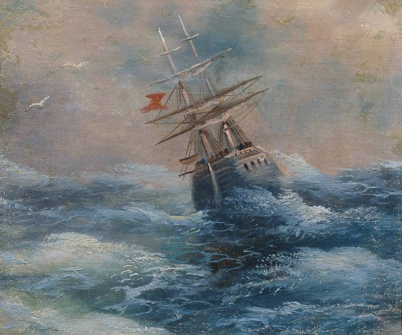 Sea with the spacecraft. Etude. Ivan Konstantinovich Aivazovsky