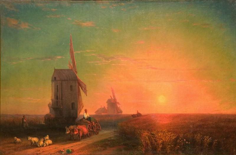 Sunset. Mill. Ivan Konstantinovich Aivazovsky