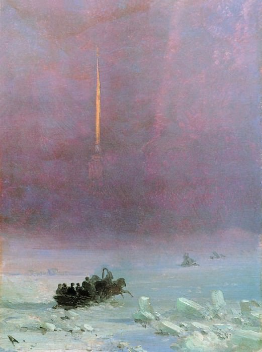Petersburg. The ferry across the river 1870 22h16, 6. Ivan Konstantinovich Aivazovsky