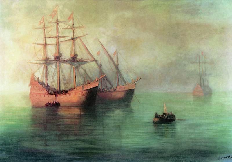 Ships of Columbus 1880 140h170. Ivan Konstantinovich Aivazovsky