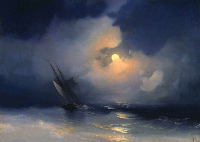 Storm on the sea on a moonlit night 28h39. Ivan Konstantinovich Aivazovsky