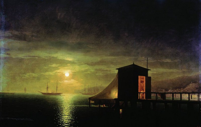 Moonlight. Baths in Feodosia 1853 94h143. Ivan Konstantinovich Aivazovsky