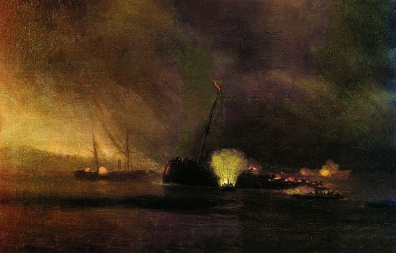 Explosion three-masted ship in Sulin 27 September 1877. 1878 97h122. Ivan Konstantinovich Aivazovsky