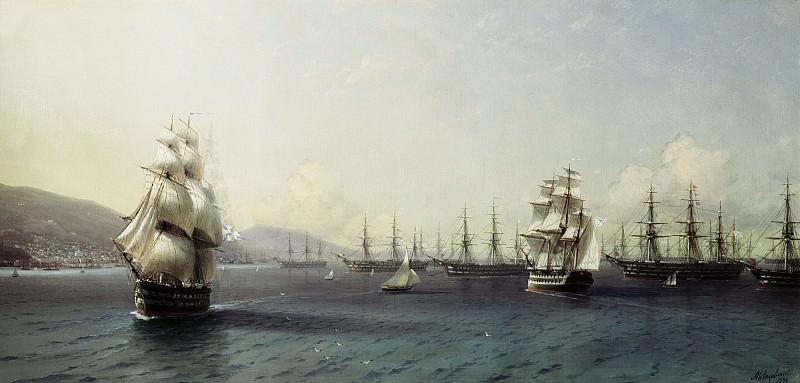 Black Sea Fleet in Feodosiya 1890 53h107. Ivan Konstantinovich Aivazovsky