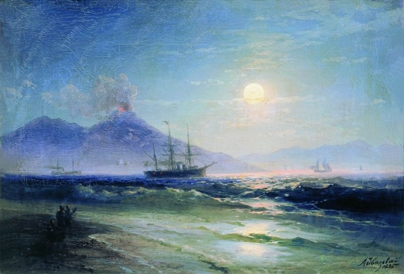 Bay of Naples at night in 1895 28,2 x40, 8. Ivan Konstantinovich Aivazovsky