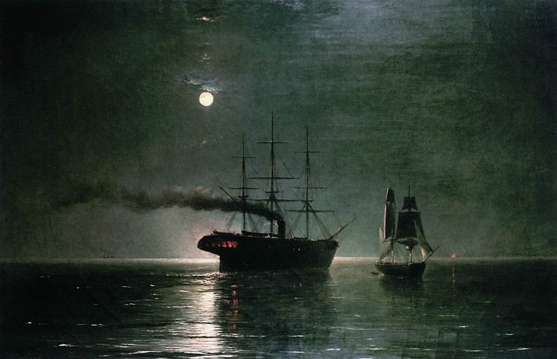 Корабли в ночной тишине 1888 35х54. Иван Константинович Айвазовский