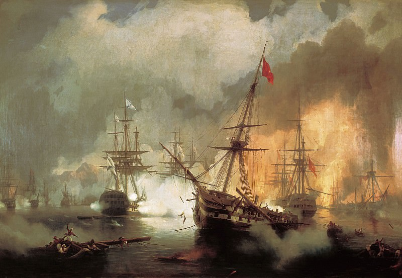 Sea battle at Navarino on October 2nd. 1827g. 1846 222h334. Ivan Konstantinovich Aivazovsky