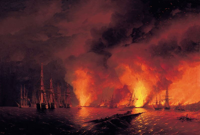 Sinop fight on November 18 1853. The night after the battle in 1853. Ivan Konstantinovich Aivazovsky