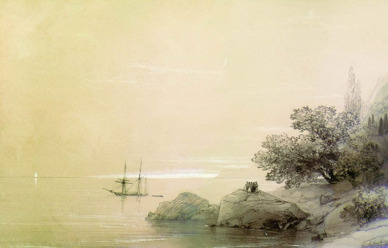 sea against a rocky shore in 1851. Wood, pencil, protsarapka 18. . . . 7h27. . 2. Ivan Konstantinovich Aivazovsky