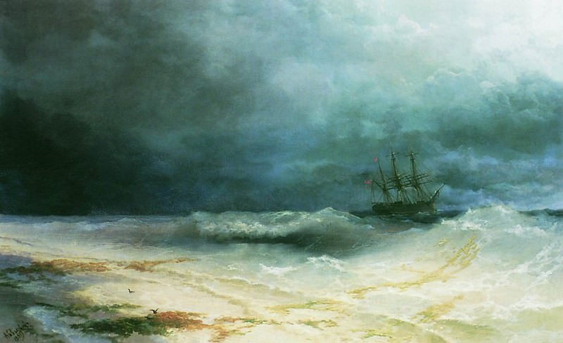ship in a storm in 1895 72h90. Ivan Konstantinovich Aivazovsky