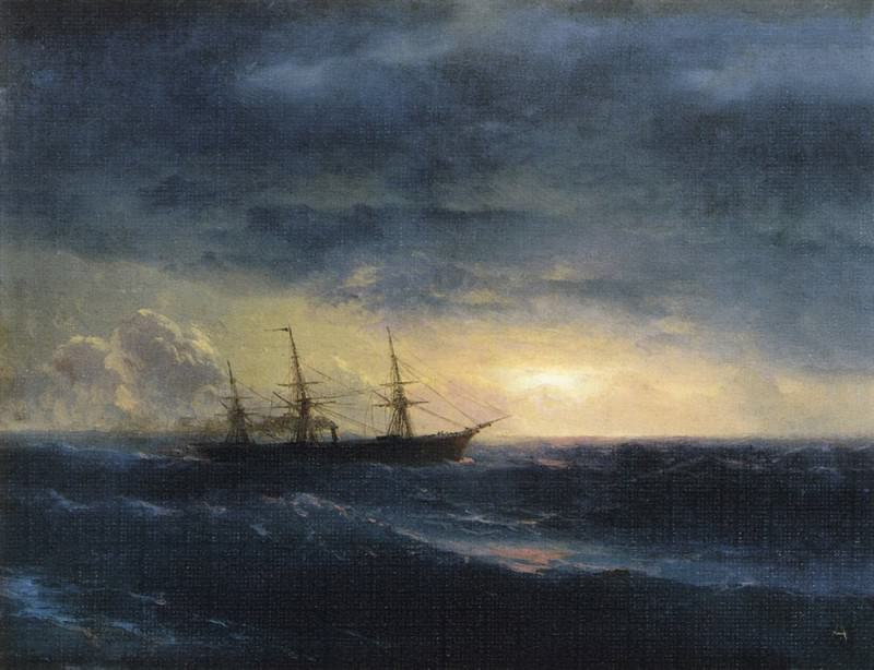 cruiser in the sea at night 23h50. Ivan Konstantinovich Aivazovsky
