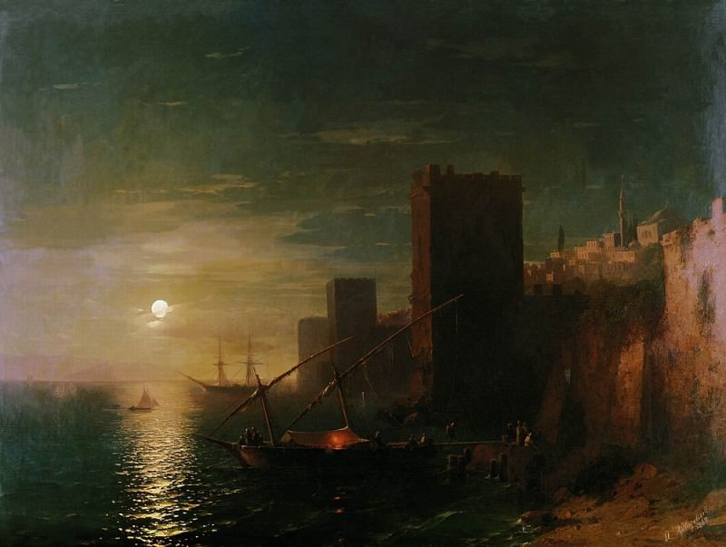 Moonlit Night in Constantinople in 1862 123h169. Ivan Konstantinovich Aivazovsky