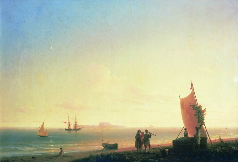 View on the island of Capri in 1845 59,5 x86, 5. Ivan Konstantinovich Aivazovsky