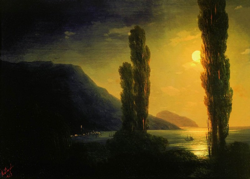 Лунная ночь. Окрестности Ялты 1863 20,2х28. Иван Константинович Айвазовский