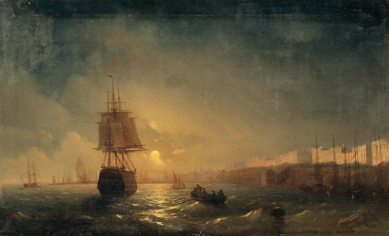 Type of Odessa on a moonlit night in 1855 78h128. Ivan Konstantinovich Aivazovsky
