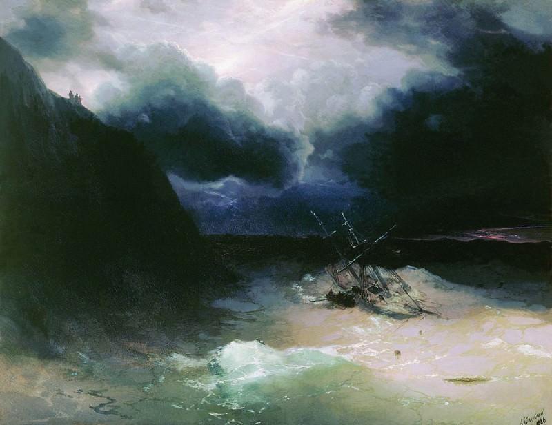 Sailing in a storm in 1886. Ivan Konstantinovich Aivazovsky