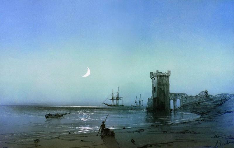 Seascape 1850. Cardboard, graphite. pencil, prtsarapka 17,1 h24, 5. Ivan Konstantinovich Aivazovsky
