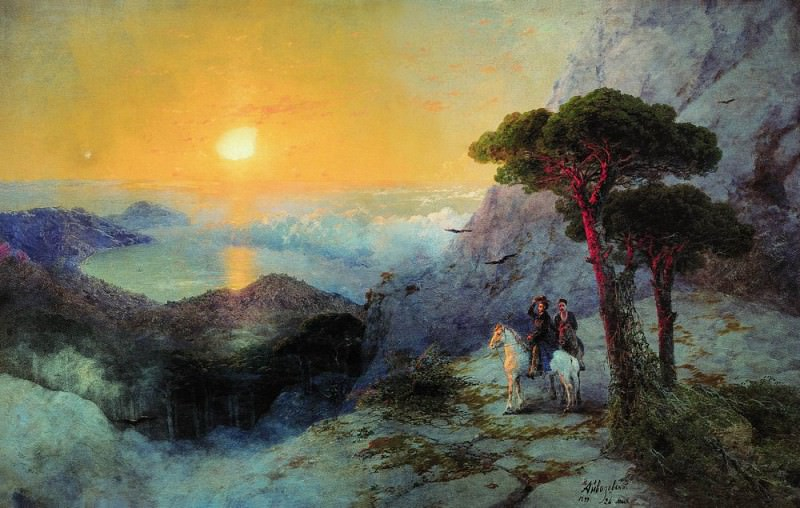 A. Pushkin at the top of the Ai-Petri at sunrise 1899 135h250. Ivan Konstantinovich Aivazovsky