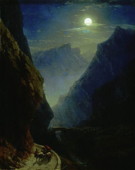 Дарьяльское ущелье в лунную ночь 1868 45х36. Иван Константинович Айвазовский