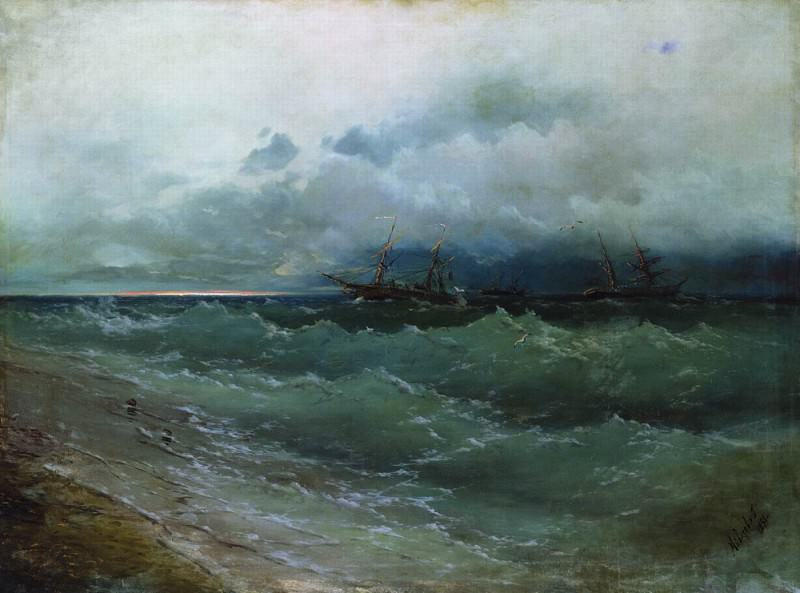 Ships in the stormy sea. Sunrise 1871 108h143. Ivan Konstantinovich Aivazovsky