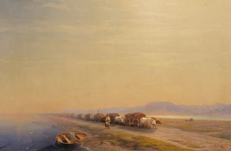 Oxen on the isthmus 1860. Ivan Konstantinovich Aivazovsky