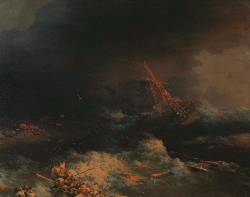 wreck Ingermanland in Skagerrak in the night of Aug. 30. 1842 1876 95h125. Ivan Konstantinovich Aivazovsky